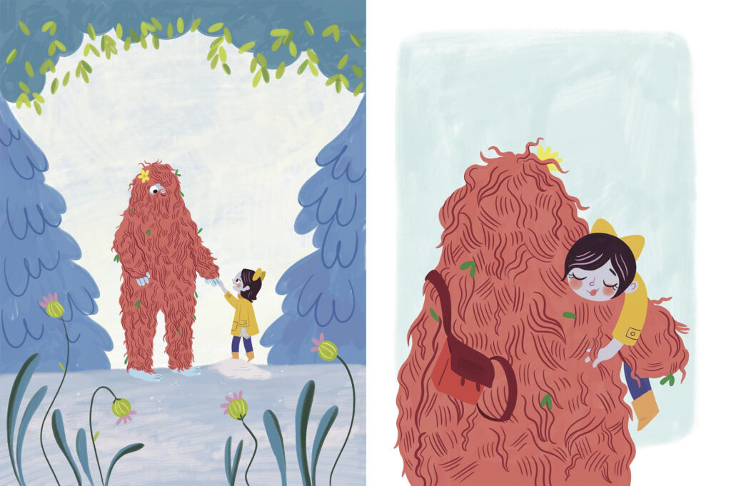 Final version of page 12, in one of the compositions, Willa and Buttercup the bigfoot are together in the woods holding hands warmly. In the other composition they are giving each other a friendly hug.