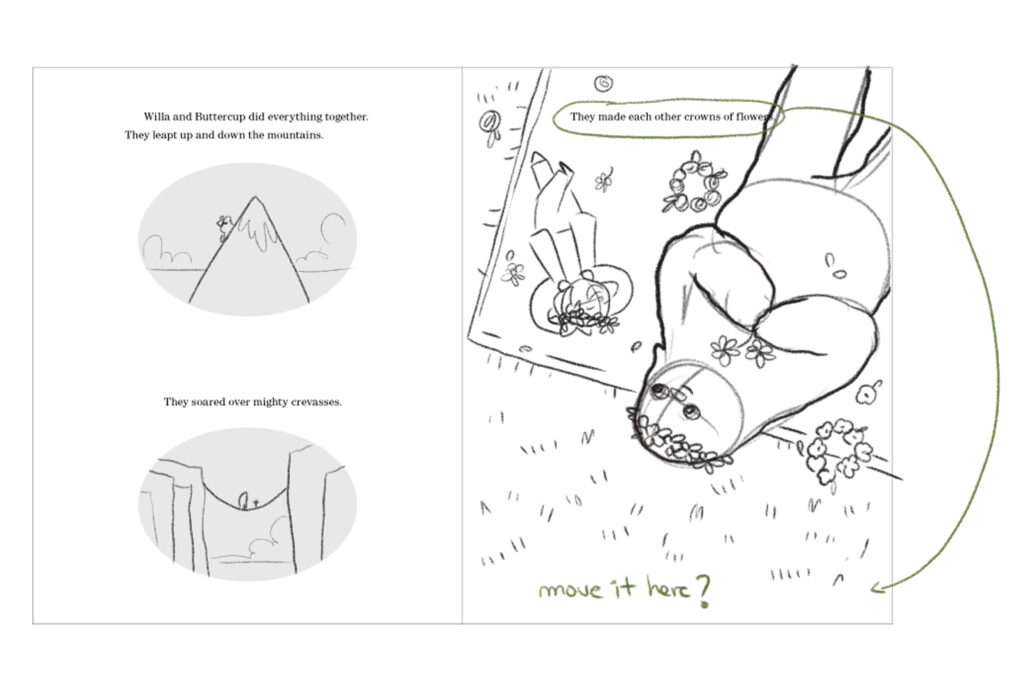 Sketch of page 14, consisting of three drawings, in the first they appear climbing a mountain, in the second they appear crossing a ravine on a small suspension bridge, in the third they appear resting on a blanket.